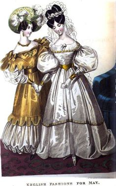 1832. Wedding and evening dress, May, England.