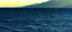 Blue mountains and sea in Dahab on the Sinai Peninsula in Egypt