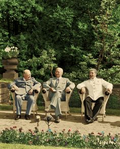 Churchill, President Harry S. Truman,& Premier Joseph Stalin meeting at the Potsdam Conference on 18 July 1945. Nazi Germany, which had agreed to unconditional surrender  weeks earlier, on 8 May (V-E Day).- Colourised