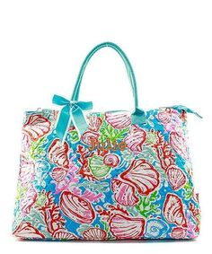 "Personalized Coral Reef Seashell Aqua Blue 21"" Quilted Tote Bag - Gifts Happen Here - 1"