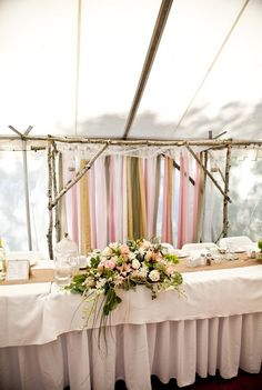This ribbon backdrop creates focal point behind the bride and groom at the head table Lodge Wedding, Wedding Table, Wedding Reception, Wedding Ideas, Wedding Stuff, Wedding Inspiration, Head Table Backdrop, Ribbon Backdrop, Trendy Wedding