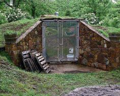 Old insulated refrigerator semi trailer. Now food cellar!