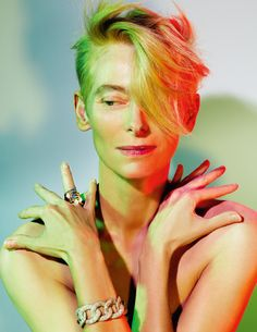 Tilda Swinton......mad as a box of frogs, but still a cool lady!