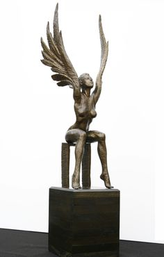 Angel Sitting , Female Figurative Sculpture , Bronze , Sculptor Butch Charlan