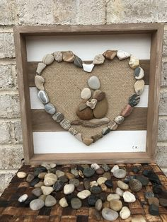 Framed Pebble art of a couple cuddling- beach glass, driftwood, and stone art. Stone Pictures Pebble Art, Stone Art, Pebble Stone, Art Floral, Pierre Decorative, Art Rupestre, Rock Family, Art Pierre, Pebble Art Family