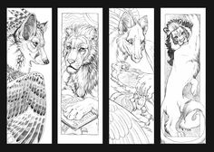 the last thing before I get back to commissions. Some potential bookmarks. Not very thoughtful or thematic; I just drew what came to mind.