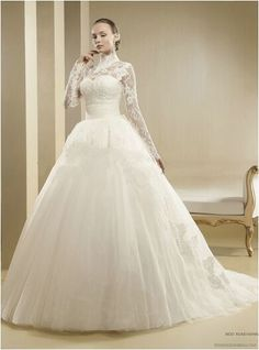 Specials New Fashion Pearls Button Back French Lace High Neck Long Sleeve Muslim Wedding Dress From High-Ranking Online Seller Dailyspecialsdress