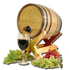 Our authentic American Oak Bag-N-Barrel is designed for dispensing boxed or bagged wine. Holds 3 or 5 liter bags of wine. Toll-Free 877-443-8769.