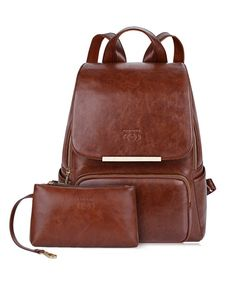 06b898c06e Leather Backpack Purse College Backpacks Adult Backpacks for Women - Brown  - CS18DCCYLLI