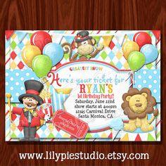 Carnival Circus Birthday Invitation printable digital file on Etsy, $10.00