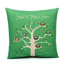 Green owl pillow decorative pillows for couch linen