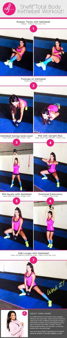 Shefit™ Total Body Fitness Workout by WBFF Pro, Sara Marie, for Shefit™ sports apparel — http://shop.shefit.com/collections/all-products/products/shefit-sports-bra #kettlebell