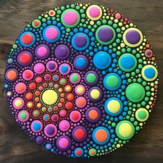 "Hello everyone! It's auction time so get ready to place your bids for this diameter Acrylic on Wood 🌈""Rainbow Spiral Orb""! Rock Painting Patterns, Dot Art Painting, Rock Painting Designs, Mandala Painting, Pebble Painting, Pebble Art, Paint Designs, Stone Painting, Dot Painting On Rocks"