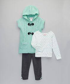 This Mint Dot Three-Piece Sweater Set - Toddler & Girls by Little Lass is perfect! #zulilyfinds