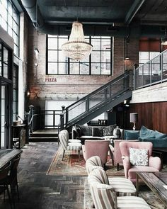 Industrial Style Loft with charming elements to add to your home decor. A breath of fresh air into your industrial style loft. In an industrial style world, the interior design project of today will m Vintage Industrial Decor, Industrial Interior Design, Industrial Interiors, Industrial House, Home Interior Design, Interior Architecture, Interior Decorating, Industrial Style, Vintage Decor