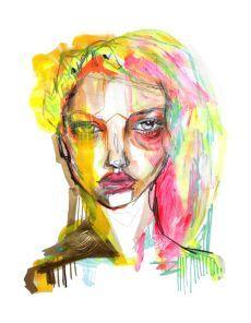 Facets | Anya Mielniczek #art #mixedmedia #female #portrait #face #colour