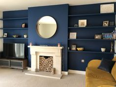 Floating Alcove Shelves for DIY or Professional Installation Alcove Ideas Living Room, Living Room Shelves, Living Room Designs, Navy Living Rooms, New Living Room, Living Room Decor, Alcove Shelving, Modern Home Interior Design, Living Room Inspiration