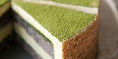 Green Tea-Black Sesame Mousse Cake