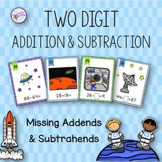 My students love outer space so I created these task cards to make a math center fun! 48 task cards for students to add and subtract two digit numbers that may require regrouping and 48 task cards with missing addends and subtrahends. The task cards are great for