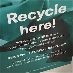 Apparel to be reworm reused and recycled is the smaller subtext of this H&M Clothing Recycling Discount Coupon offer and appeal. H&m Store, Store Fixtures, Discount Coupons, All Brands, Recycling, Retail, How To Get, Clothing, Outfit