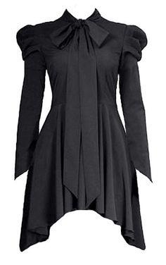 Romantic Long Black Gothic Victorian Blouse