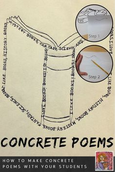 Step-by-step directions for making concrete poems that look really good, grades 3-6, fun poetry idea