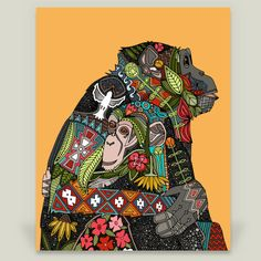 Fun Indie Art from BoomBoomPrints.com! http://www.boomboomprints.com/Product/scrummy/chimpanzee_love/Art_Prints/8x10_Print/ #boomboomprints #sharonturner #chimpanzee #love #mother #baby #hug #cuddle #cute #illustration #tribal #aztec