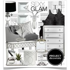 Project Decorate: Sexy Glam With Honey We're Home by pisces7 on Polyvore featuring interior, interiors, interior design, home, home decor, interior decorating, Brighton, Eichholtz, Pottery Barn and Arche