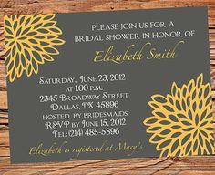 Bridal shower Invitation, Bridal Shower Invite, Wedding Shower Invitation, Yellow Flower Wedding Shower,  digital, printable file (6069) W on Etsy, $21.00