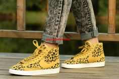 To some this is sacrilege, we'll just call it fun...Leopard Print Nike Blazers Mid Print #Yellow #Womens #Sneakers