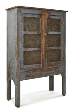 Painted pine pie safe, mid c., with punched tin panels, retaining an old scrubbed blue surface, h X 39 w. Primitive Cabinets, Primitive Furniture, Country Furniture, Country Decor, Rustic Decor, Antique Furniture, Primitive Bedroom, Country Homes, Primitive Homes