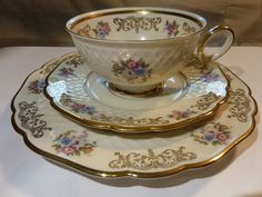 GERMAN Antique Seltmann Weiden - E Bavaria - Trio Set - Tea Cup - Saucer & Plate #SeltmannWeidenEBavaria