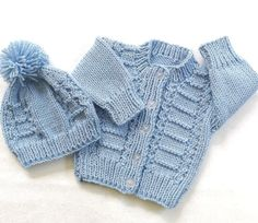Infant knitted cardigan and hat  0 to 6 months  by LurayKnitwear