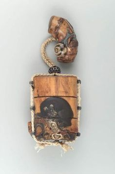 Two-case inro in the form of a tree trunk with tree, bear and waterfall design | Museum of Fine Arts, Boston