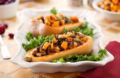 Whole wheat and wild rice-stuffed butternut squash
