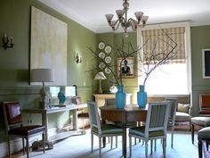 Olive Green Interiors. Green Dining RoomGreen RoomsSage Living ...