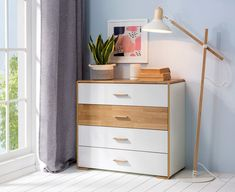 Quality wide chest of 4 drawers, ideal for storage in a bedroom or living room. Contemporary sought after white gloss & natural oak combination from Bari modern furniture range. Quality furniture at affordable prices. Modern Bedroom Furniture, Furniture Decor, Bedroom Decor, Neutral Bedrooms, Dresser As Nightstand, Bedroom Storage, Quality Furniture, Storage Drawers, Modern Lighting