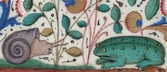 Depressed snail and sad frog, Institutes of Justinian, France 15th century (BIUM, H 418, fol. 23v)