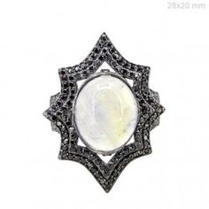 Moonstone Cocktail Ring Pave BLACK Diamond Solid Sterling Silver Fashion Jewelry