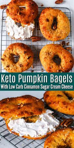 Pumpkin Bagel Recipe, Pumpkin Recipes, Fall Recipes, Ketogenic Recipes, Low Carb Recipes, Diet Recipes, Cooking Recipes, Recipies, Keto Bagels