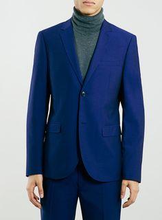 Navy Textured Skinny Fit Suit Jacket