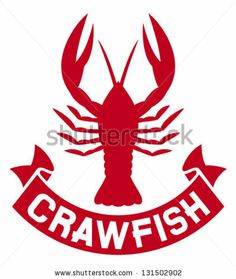 crawfish label (crawfish silhouette, crayfish icon, lobster sign, crawfish symbol) by Tribalium, via ShutterStock
