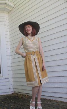 Vintage 60s Mod Dress Striped Print Sleeveless Lester by soulrust