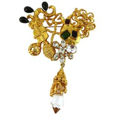 Christian Lacroix Vintage Huge Jewelled Baroque Heart Brooch | From a unique collection of vintage brooches at https://www.1stdibs.com/jewelry/brooches/brooches/