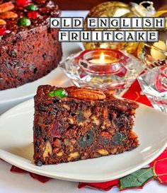 It's never too early to plan some Holiday baking with this Old English Dark Fruit Cake - a decades old recipe for a moist, rich, dark fruit cake chock full of dried fruit and crunchy pecans. Cake Old English Dark Fruit Cake Christmas Cooking, Christmas Desserts, Christmas Treats, Christmas Cakes, Christmas Christmas, Food Cakes, Cupcake Cakes, Fruit Cakes, Cupcakes