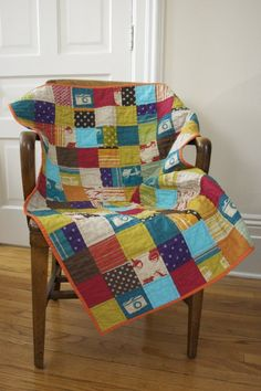 Hipster baby quilt - the rose kind of mutes the brighter colors - need to get some rose