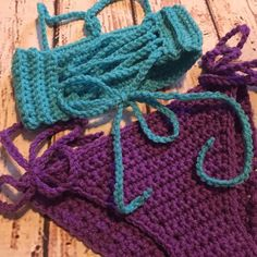 I N F O:  Hand crochet Aubergine bikini TOP & BOTTOM. This is a new set which is part of the Hadley Paige Designs 2017 Resort Collection!!  Available in infant-child sizes.  Tie waist bottoms. Top is bandeau style with neck ties beginning on chest at the center and then laces down the back and ties at the bottom.  Made to order so colors and size are customizable.  ----- S I Z E S:  INFANT (0-12mos) TODDLER (1-3t) CHILD (4-10yrs)  ----- C O L O R S:  These are made to order so you choose ...