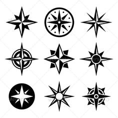 Buy Compass and Wind Rose Icons Set by In-Finity on GraphicRiver. Compass and wind rose icons set. Compass Icon, Compass Logo, Compass Tattoo, Compass Symbol, Compass Vector, Star Tattoos, Cool Tattoos, Gun Tattoos, White Tattoos