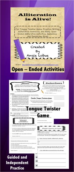 Alliteration is Alive! Teach alliteration with a FUN tongue twister game (your students will undoubtedly laugh), a guided practice activity, and culminate the lesson with open-ended alliterative activities (suggestions of books and activities given). Happy teaching! https://www.facebook.com/positivelypassionateaboutteaching $3