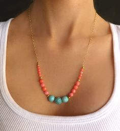 Turquoise & Coral Beaded Necklace - 14K Gold Long Strand Necklace - Bright Bold Statement Necklace - Pink Coral Color Block Necklace